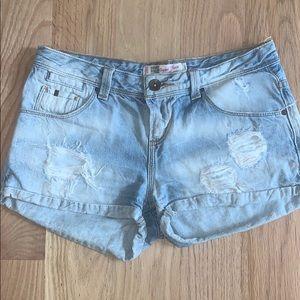 Zara TRF Denim Rules Denim Distressed Shorts